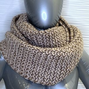 F&F Hand Knit Scarf with Gold Threads